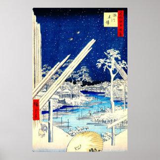 Fukagawa Lumberyard 1856 Poster