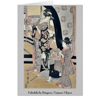 Fukubiki by Kitagawa, Utamaro Ukiyoe Card