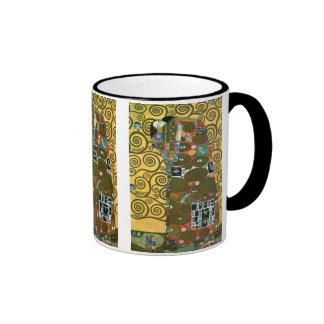 Fulfillment aka The Embrace by Gustav Klimt Ringer Coffee Mug