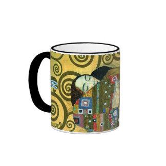Fulfillment (The Embrace) by Gustav Klimt Ringer Mug