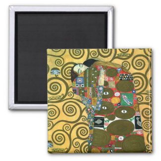 Fulfillment (The Embrace) by Gustav Klimt Square Magnet