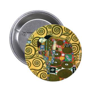 Fulfilment (The Embrace) by Gustav Klimt 2 Inch Round Button