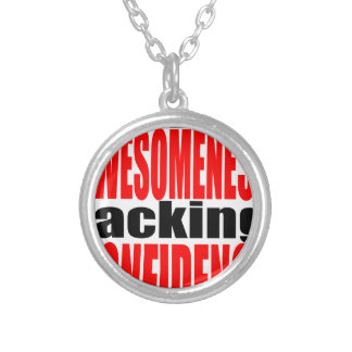full awesomeness lacking confidence red motivation silver plated necklace