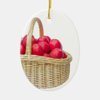 Full basket with red apples ceramic oval ornament