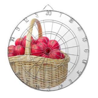 Full basket with red apples dart board
