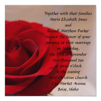 Full Bloom Red Rose Wedding Card