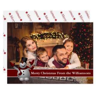 Full Card Photo Snowman With Red Text Band