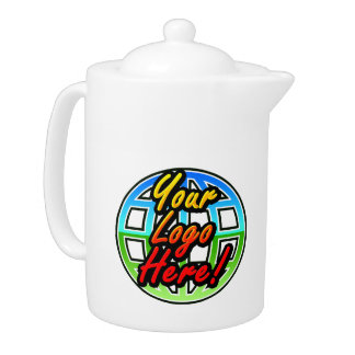 Full Color Logo Teapot Pitcher w/Lid