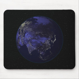 Full Earth at night showing city lights Mouse Pad