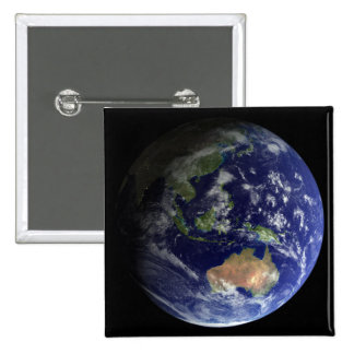 Full Earth from space showing Australia 2 Inch Square Button