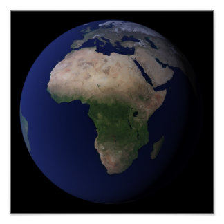 Full Earth showing Africa, Europe, &  Middle Ea Poster