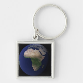 Full Earth showing Africa, Europe, &  Middle Ea Silver-Colored Square Keychain