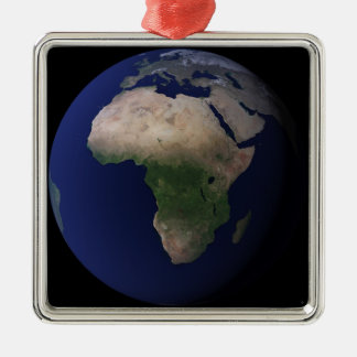 Full Earth showing Africa, Europe, &  Middle Ea Silver-Colored Square Ornament