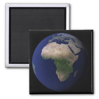Full Earth showing Africa, Europe, &  Middle Ea Square Magnet