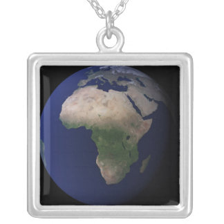 Full Earth showing Africa, Europe, &  Middle Ea Square Pendant Necklace