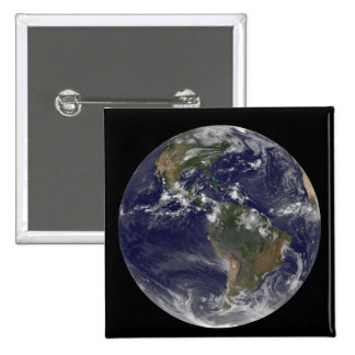 Full Earth showing North America and South Amer 2 2 Inch Square Button