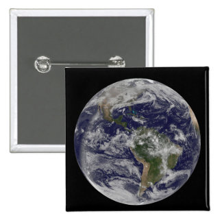 Full Earth showing North America and South Amer 4 2 Inch Square Button