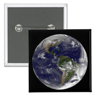 Full Earth showing North America and South Amer 5 2 Inch Square Button