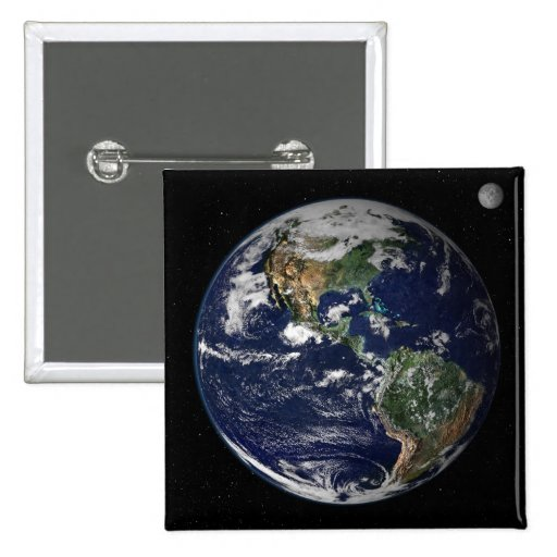 Full Earth showing North and South America Pinback Button
