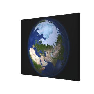 Full Earth showing the Arctic region Gallery Wrap Canvas