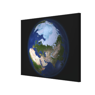 Full Earth showing the Arctic region Stretched Canvas Print