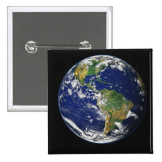Full Earth showing the western hemisphere 2 Inch Square Button