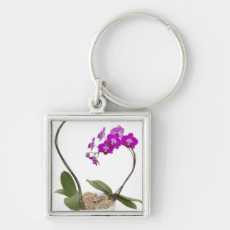 Full frame Orchid isolated on a white background Keychain