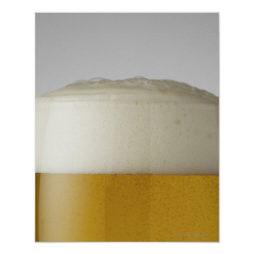 Full glass of beer indoors posters