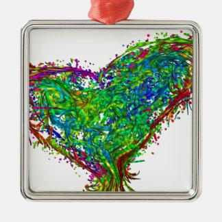 Full heart Silver-Colored square ornament