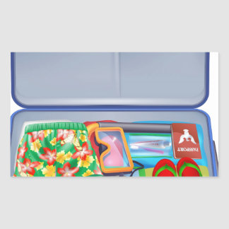 Full holiday vacation suitcase rectangle stickers
