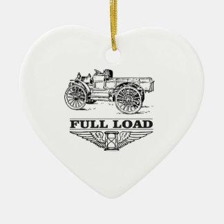 full load truck go ceramic heart ornament