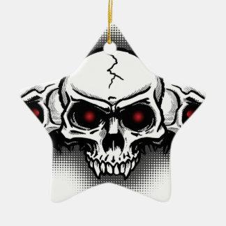 Full Metal Rock Skulls Ceramic Star Ornament