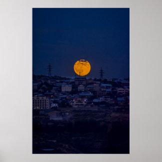 Full moon above Yerevan Poster