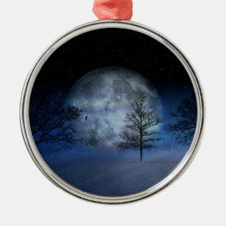 Full Moon Among the Treetops Metal Ornament