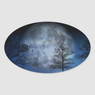 Full Moon Among the Treetops Oval Sticker