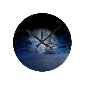 Full Moon Among the Treetops Round Clock