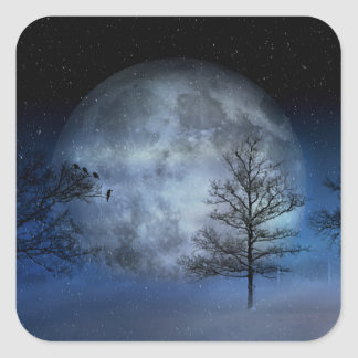 Full Moon Among the Treetops Square Sticker