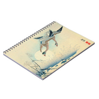 Full Moon and Flying Geese 1870 Spiral Notebook