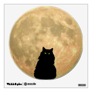 Full Moon and Sitting Black Cat Wall Sticker