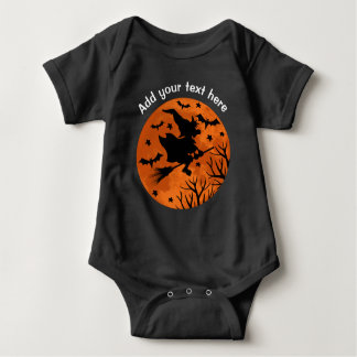 Full Moon and Witch Flaying on a Broom Halloween Baby Bodysuit