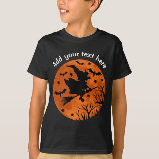 Full Moon and Witch Flaying on a Broom Halloween T-Shirt