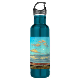 Full Moon at Dusk in the Mountains Water Bottle