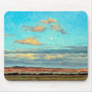 Full Moon at Dusk with Glowing Clouds Mousepad