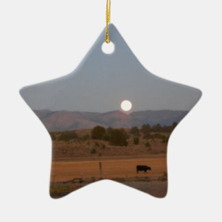 Full Moon at Twilight Ceramic Star Ornament