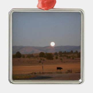 Full Moon at Twilight Silver-Colored Square Ornament