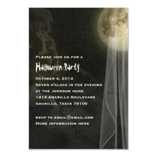 Full Moon Black Night Halloween Party Small Invite