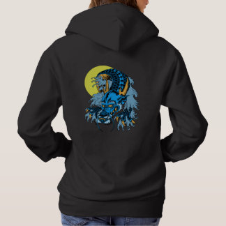 Full Moon Blue Asian Art Dragon Hoodie