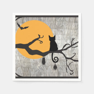 Full Moon Cat Bat Tree Halloween Paper Napkin