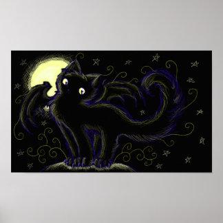 Full Moon Cats Night Poster