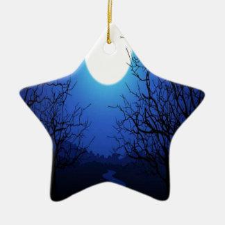 Full Moon Ceramic Star Ornament